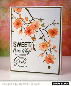 Heather Telford: Penny Black First Blush and Faith; Distress Stains and Inks Penny Black Cards, Penny Black Stamps, Watercolor Cards, Watercolor Flowers, Kirigami, Diy Cards, Your Cards, Idee Diy, Friendship Cards