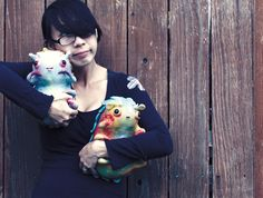 My beautiful and brilliant friend, Shing, bug hugging her amazing sculptures!