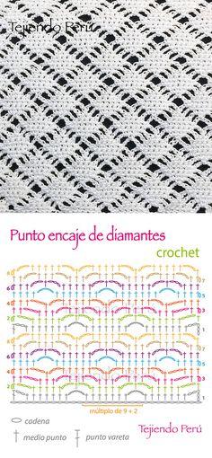 Crochet: diagrama del punto encaje de diamantes! ༺✿ƬⱤღ✿༻