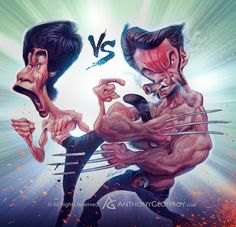 Bruce Lee vs Wolverine by Anthony Geoffroy (France) Cartoon Kunst, Comic Kunst, Cartoon Art, Comic Art, Cartoon Faces, Funny Faces, Cartoon Characters, Funny Caricatures, Celebrity Caricatures