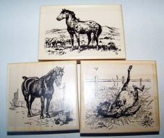Lot of 3 Brand New Mounted Rubber Stamp  - HORSE, HORSES