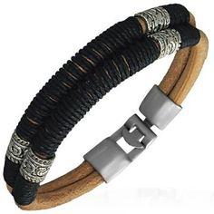 Modern Brown Leather Surfer Style Mens Bracelet