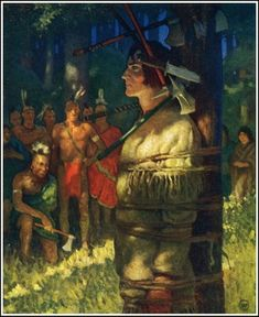 Unflinching by NC Wyeth for Deerslayer by James Fenimore Cooper. Published by Scribner's, 1925