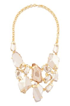 gold shadow bib necklace