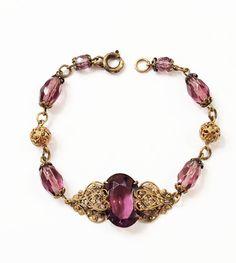 Vintage Art Deco Czech Bracelet Amethyst by GracesVintageGarden