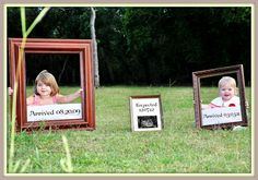 This is adorable for a 3rd baby announcement with the frames!