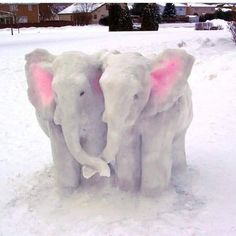 Things that make you go AWW! A place for really cute pictures and videos! I Love Snow, Snow Much Fun, Winter Scenery, Winter Fun, All About Elephants, Animal Tumblr, Snow Sculptures, Metal Sculptures, Wood Sculpture