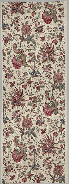 Textiles: French, 1787, Probably based on motifs copied from Indian fabrics.