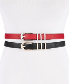 Steve Madden Skinny Belts In Black/gold & Red/silver Steve Madden Style, Skinny Belt, Belts For Women, Handbag Accessories, Black Gold, 21st, Silver, Outfits, Collection
