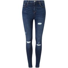 Miss Selfridge Lizzie Mid Wash Distressed Jean ($53) ❤ liked on Polyvore featuring jeans, pants, mid wash denim, ripped blue jeans, destructed jeans, torn jeans, distressing jeans and distressed jeans