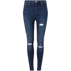 Miss Selfridge LIZZIE Mid Wash Distressed Jean (1.515 UYU) ❤ liked on Polyvore featuring jeans, pants, bottoms, calça, mid wash denim, ripped boyfriend jeans, distressed skinny jeans, torn skinny jeans, blue skinny jeans and destroyed boyfriend jeans