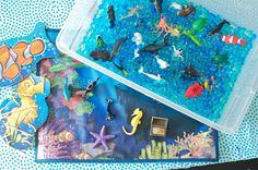 Totally Tots: Ocean Sensory Bin ~ Whats In The Tub? sensory-activities-for-kids Sensory Tubs, Sensory Boxes, Sensory Play, Gross Motor Activities, Sensory Activities, Activities For Kids, Tot School, Summer School, Ocean Themes