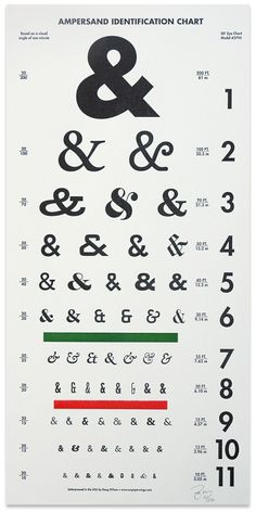 Ampersand Id Chart is a lovely new limited edition letterpress print from Douglas Wilson. Based on the Snellen eye chart, this three colour print has been designed to keep your typographic eye keen on the details of everyone's favorite conjunction. Each print comes with an identification key that details the names and weights of all 61 ampersands. Ampersand Identification Chart has been printed by Douglas in a signed and numbered limited edition of 110, and is available @ www.keepcalmgallery.com