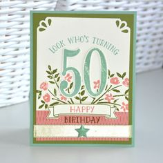 handmade birthday card from Chez Parmentier ... die cut 50 ... soft folk look  ... Stampin' Up!