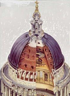 Brunelleschi's Dome, Santa Maria Del Fiore, Florence - Cutaway Drawing