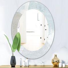 Designart 'Gold Glamour Direction I' Modern Mirror - Frameless Oval or Round Wall Mirror - Grey in. wide x in. Contemporary Wall Mirrors, Modern Wall, Modern Decor, Shabby Chic Furniture, Modern Furniture, Distressed Bathroom Vanity, Mirror Bathroom, Mirror Shapes, Round Wall Mirror