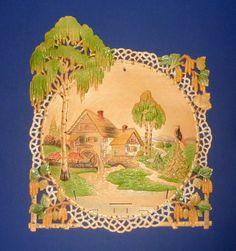 Vintage German Pressed Cardboard Die Cut Scenic Calendar Pictures