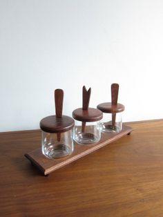 MidCentury Teak Condiment Set by ModernSquirrel on Etsy, $25.00