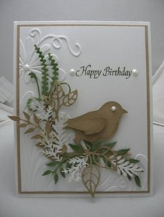 Stunning Embossed Birthday Card...with bird & lacy fern trim...Die Cuts. by cheri