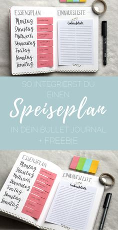 {bullet journal} How to integrate a meal plan into your .- {bullet journal} So integrierst du einen Essensplan in dein Bullet Journal! + FREEBIE So you can integrate your meal plan into your Bullet Journal – including shopping list! Diy Bullet Journal, Bullet Journal Comment, Bullet Journal Layout, Bullet Journal Inspiration, Bujo, Bullet Bullet, Bullet Journel, Journal Pages, Journals