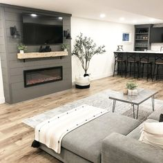 Basement Fireplace, Basement Living Rooms, Basement Furniture, Bedroom Fireplace, Basement House, Home Fireplace, Fireplace Remodel, My Living Room, Living Room Decor
