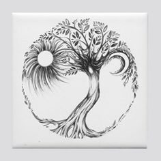 Shop Tree of Life Design Tile Coaster designed by ArtSoulCreations. Lots of different size and color combinations to choose from. Earthy Tattoos, Boho Tattoos, Unique Tattoos, Body Art Tattoos, Sleeve Tattoos, Tatoos, Zen Tattoo, Lock Tattoo, Celtic Tree Tattoos