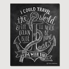 Nautical Print - Travel Print - Chalkboard Art - Anchor Illustration - Nautical Decor - Hand Lettered Print