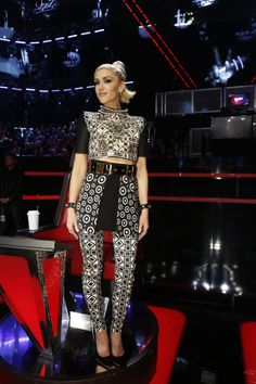 Gwen Stefani wearing Fausto Puglisi at The Voice Playoffs Results.Styled by #RandM.