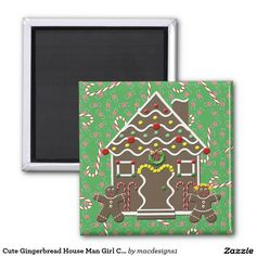 Cute Gingerbread House Man Girl Christmas Candy 2 Inch Square Magnet