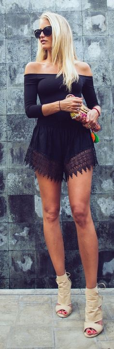 Black Lace Detail Romper & Awesome Shoes http://momsmags.net