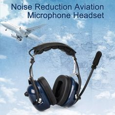 Noise Cancelling Aviation Headset Microphone Walkie-Talkie Earpiece VOX H777 ❤️ Pin it please on your board