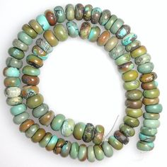 "Turquoise Rough Cut Rondelle Beads Green 16"" Strand 9.5 mm Diameter"