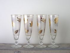 Vintage Libbey Golden Folage Pilsner Glasses Set of by 22BayRoad, $16.00