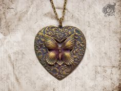 Neo-Victorian butterfly and loveheart pendant - brass with verdigris and hand-painting - steampunk wildlife nature jewelry gift - Chain sep.