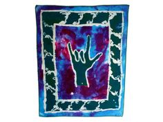 I Love You ASL Batik Wallhanging - African Wax Print Supporting Schools for the Deaf. $12.00, via Etsy.