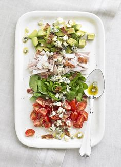Cobb salad with turkey and avocado: Ready in just 10 minutes, this easy salad of turkey, bacon and avocado is brought to life with blue cheese and mustard dressing.
