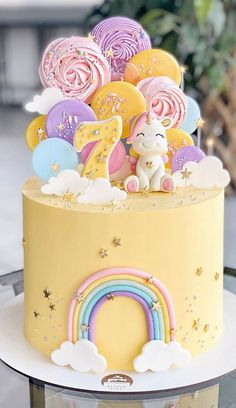 7th Birthday Cakes For Girls, Yellow Birthday Cakes, Pretty Birthday Cakes, Cute Birthday Cakes, Cake Designs For Kids, Cake Decorating Designs, Cake Decorating For Kids, Decorating Ideas, Girl Cakes