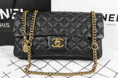 Chanel 85762 Classic Women Flag Shoulder Bag on metallic chains in black lambskin  Code: 85762 Color: black Dimension: 31*18*9CM With exterior zipped pocket on back Price: USD319 Inquiry: buy@ladybag.us