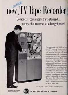 new quadruplex TV tape recorder by RCA: compact 1964