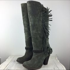 """[MLE] Fandango Fringe Chain Boots Green 9 Such a unique and gorgeous pair of boots! Mia Limited Edition Fandango boot has a slight boho flair with the fringe, but the chain adds some edginess. Wooden heel. Distressed suede. Approximately 16"""" calf circumference.  Color: Green Material: Suede Upper Size: 9 Height/Shaft: 14"""" (Slightly higher in front) Heel Height: 4"""" Condition: EUC. Like new. No flaws. No damage to soles or heels.  No Trades! No PayPal! MIA Shoes Heeled Boots"""