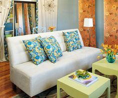 """from BHG article """"Live Large in a Small Space"""" used as inspiration for living room"""