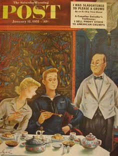 How to Use Chopsticks. Saturday Evening Post, January 12, 1952 (Constantin Alajalov)