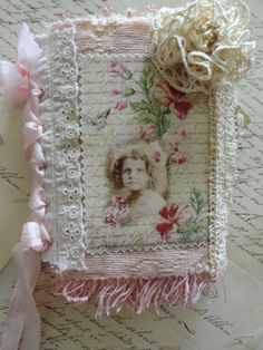 Vintage Pink a one of a kind Fabric and Lace mixed media fabric collage BOOK