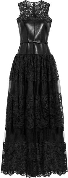 Leather Lace and Tulle Gown - Lyst