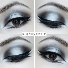 Elevate your eye makeup with an edgier take on the winged eyeliner. Be inspired … Elevate your eye makeup with an edgier take on the winged eyeliner. Be inspired by this silver and black look for your next night out. Goth Eye Makeup, Eye Makeup Glitter, Black Eye Makeup, Eye Makeup Steps, Dark Makeup, Black And White Makeup, Beauty Makeup, Black White, Gothic Makeup Tutorial