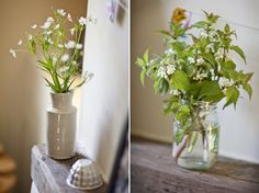 Earthenware vase with hedgerow flowers