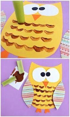 Celery Stamped Owl Craft for Kids | CraftyMorning.com by deana