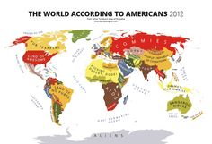 The World According to Americans 2012 from Yanko Tsetekov's Atlas of Prejudice, alphadesigner: Cultural and geographical differences often create points of contention, and humor, between different countries. Now we can see specific countries' points of view on the world, and people, around them laid out in map form with the Mapping Stereotypes project by Bulgarian designer Yanko Tsvetkov. #Infographic #World #Prejudice