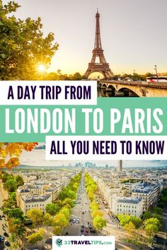 A Day Trip from London to Paris: All You Need to Know. Planning to see the British capital on your next trip? Here are the 33 travel tips on how you plan a day trip from London to Paris either by train, by plane, by car or by bus. Eurostar Train | London to Paris by Train | Day Trip from London to Paris | How to get from London to Paris | Travel from London to Paris | Train from London to Paris | Train ride from London to Paris | #london #paris #eurostar #paristravel #parisdaytrip Road Trip Europe, Europe Travel Guide, France Travel, Travel Destinations, Travel Abroad, Travel Guides, European Vacation, European Travel, Train Travel