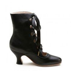 """Tango"" Edwardian Boots (Black)(1890-1930)"